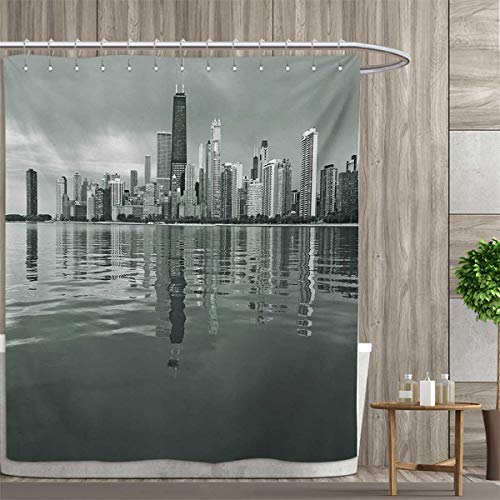 (smallfly Chicago Skyline Shower Curtain Collection by Nostalgic Weathered Lake Michigan Harbor Coastal Town Urban Vintage Patterned Shower Curtain 36