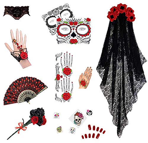 Plus Size Day of the Dead Halloween Costume For Dia de los Muertos (One Size, Deluxe Accessory Kit #2 Only)