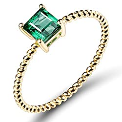 Yellow Gold With Emerald Eternity Solitaire Ring