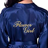 DF-deals Girls' Satin Kimono Robes with Gold Glitter for Flower Girl Wedding Party Getting Ready Robe