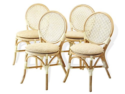 Set of 4 Denver Dining Armless Accent Side Chair Handmade Rattan Wicker Furniture White Wash price