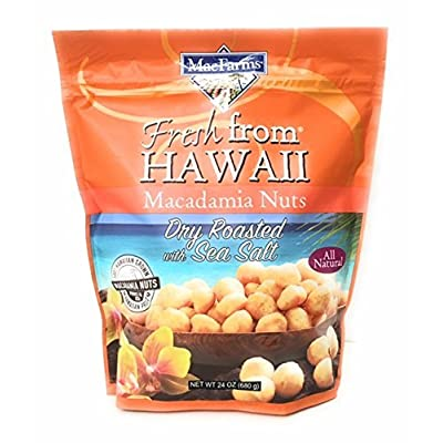 MacFarms Fresh from Hawaii Dry Roasted Macadamia Nuts with Sea Salt, 2Pack (24 oz Each) Nkgld