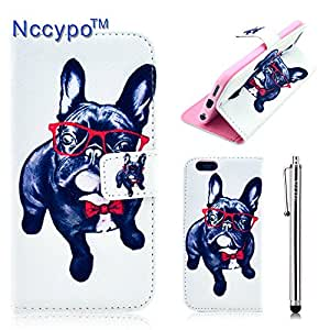 iPhone 6 Case, Nccypo Newly Fashion PU Leather Magnet Wallet Slim Protective Shell Case Cover For Apple iPhone 6(4.7 inch)[Deep Blue Dog Wearing Red Glasses] with Credit Cards Slots and Stylus