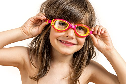 AqtivAqua Junior Swim Goggles for Kids (ages 4-12) with Anti Fog Technology and UV Protection ● Comfortable and Easy to Use Swimming Goggles for Kids (Black/Red-Frame Tinted Gray Lenses)