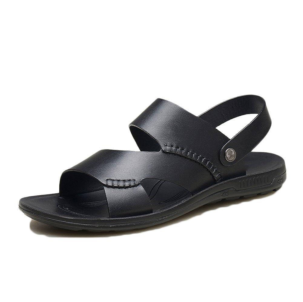 Snfgoij Herren Sandalen Einstellbare Outdoor Sports Bequeme Strand Echtes Schuhe Sommer Open Toe Echtes Strand Leder LederSandale schwarz1 826812