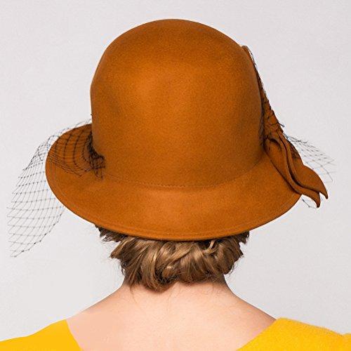 Maitose Trade; Women's Vintage Fedoras Wool Felt Veil Hat Orange by Maitose (Image #5)