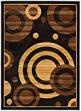 Antep Rugs Kashan King Collection GALAXY Geometric Polypropylene Indoor Area Rug Black and Beige 8' X 10'