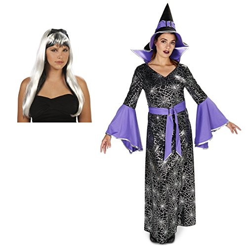 Wicked Witch Of The West Kit (Enchanting Witch Foil Printed Dress Adult Costume and Wig Bundle Set - Medium)