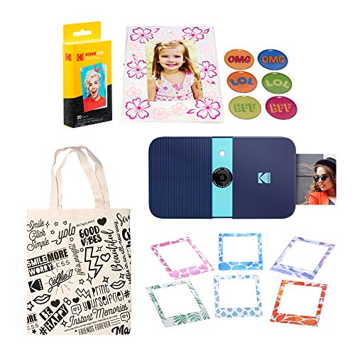KODAK Smile Instant Print Digital Camera (Blue) Magnetic Photo Frames Kit