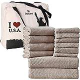 DOLLCENT 600 GSM Jacquard Chevron 100% Combed Cotton Towel Set Hotel Spa Towel- Super Absorbent Soft Cotton Towel Set - 2 Bat
