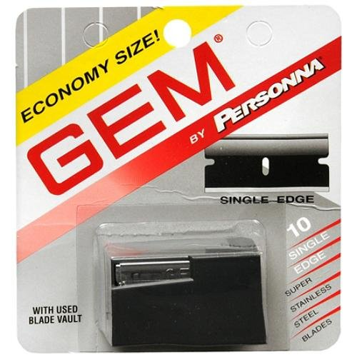 Personna Gem Super Stainless Steel Refill Blades, 10 ct. (Pack of 10) with FREE Loving Color trial size conditioner by Personna -