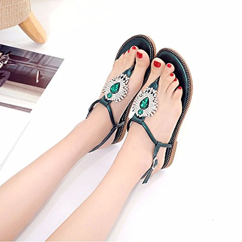 de XIAOGEGE calzado de de sandalias playa mujer El arena de plano verde Fondo moda verano zapatos de HHwqBCf