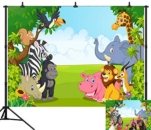 DePhoto 9X6FT(270X180CM) Cartoon Jungle Safari Themed Animals Party