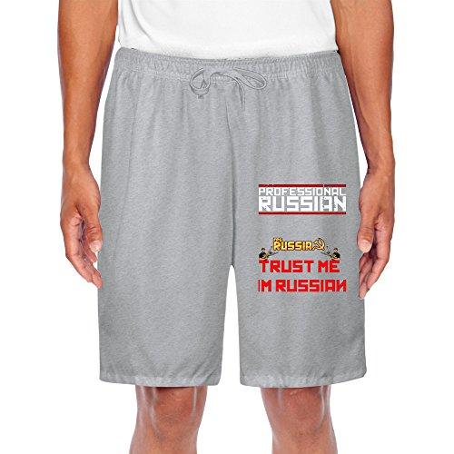 YOUARN Men's FPS Russia Professional Russian Short Sweatpants Ash (Uts Hockey)