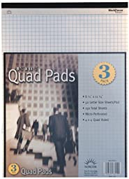 Norcom Quad Letter Size Legal Pad, 8.5 x 11.75 Inches, 50 Sheets per Pad, 3 Pack (76510-8)