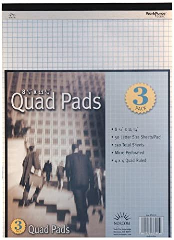 Norcom Quad Letter Size Legal Pad, 8.5 x 11.75 Inches, 50 Sheets per Pad, 3 Pack (76510-8) - Graph Pad