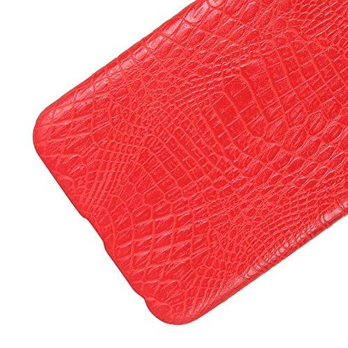 Funda Xiaomi Mi 6, SunFay Funda Posterior Protector de PC Carcasa Back Cover de Parachoques Piel PU Protectora de Teléfono Para Xiaomi Mi 6 - Rojo Rojo