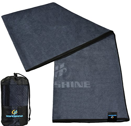 HOPESHINE Yoga Towel Non Slip for Hot Yoga Towel With Grip Microfiber Perfect Size for Yoga Mat 24 X 72 inch (Grey-black edge)