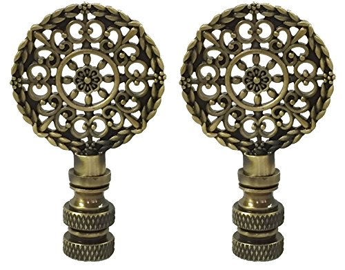 Royal Designs Mandala Filigree Lamp Finial for Lamp Shade- Antique Brass Set of 2