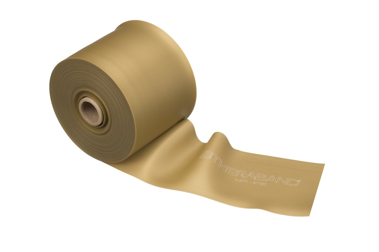 TheraBand Resistance Band 25 Yard Roll, Gold Max Strength Elite Non-Latex Professional Elastic Bands For Upper & Lower Body Exercise, Physical Therapy, Pilates, & Rehab, Dispenser Box