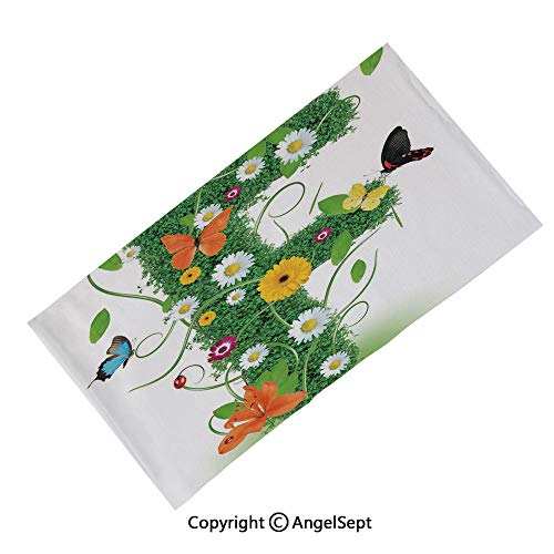 Fashion Seamless Casual Bandanas Face Mask, Tropical Hibiscus Blossoms Petals with Lemons Nature Harvest Spring Essence Image Multicolor,Multifunctional Magic Scarf for Women