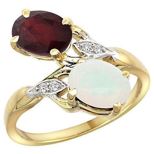 14k Yellow Gold Ruby & Opal 2-stone Mother's Ring Oval 8x6mm Diamond Accents, 3/4 inch wide, size (Seven Stone Mothers Ring)