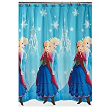 Disney Frozen Anna and Elsa Shower Curtain, Blue