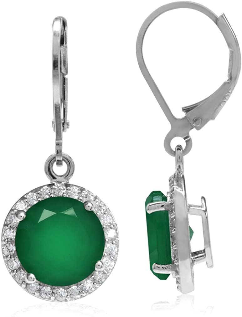 925 Sterling Silver Rhodium-plated Polished Green Agate Oval Dangle Earring