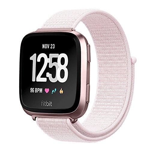 - amBand for Fitbit Versa Bands Soft Nylon Sport Strap Replacement Wristband for Fitbit Versa Fitness Smart Watch - Pearl Pink