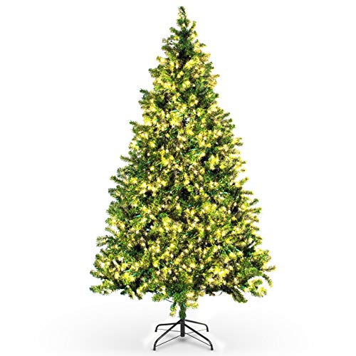 Belleze 7.5-feet Pre-Lit Premium Artificial Christmas Tree with 550 Clear Light Prelit Spruce Hinged Xmas Tree and Stand