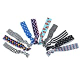 No Crease Hair Ties & Bracelets Rope -10 Pcs Women Girls Hair Ties Ponytail Holders Scrunchie Hair Band Headbands Fold Over Elastic Prints and Solids