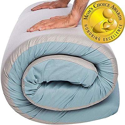 Hazli Most Comfortable Memory Foam Floor Mattress - [Twin, Single, Kids] - Roll Out, Waterproof Cotton Portable Sleeping Pad - Portable Bed Foam Camping Mattress Pad