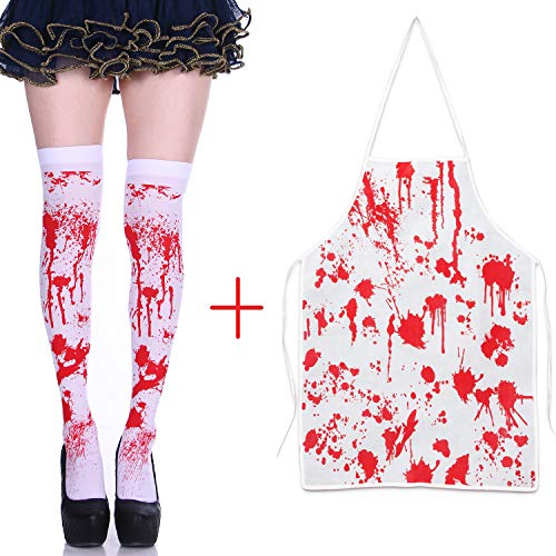 FADA Halloween Party Costume - Women Nurse Cosplay Bloody Stockings Blood Apron