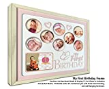 Baby Girls First Birthday Collage Frame with Double Mat