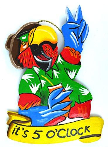 (Parrot Head IT'S 5 O'CLOCK Wood Beach Sand Tiki Bar Sign)