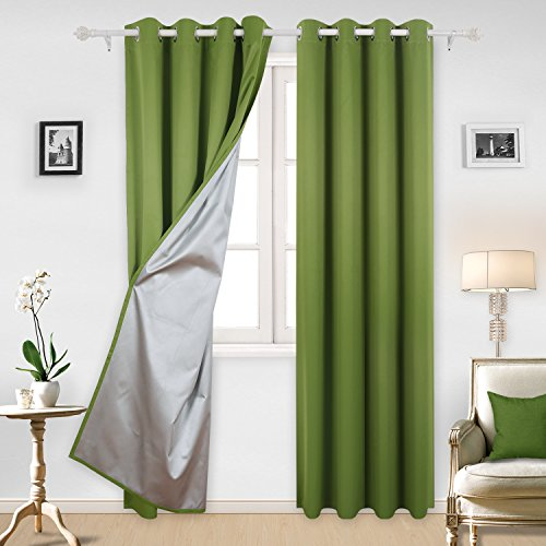 Deconovo Blackout Curtains with Silver Coating Thermal Insulated Kitchen Curtains for Boys Room 52 By 95 Inch Dark Green 2 Panels 95 Green