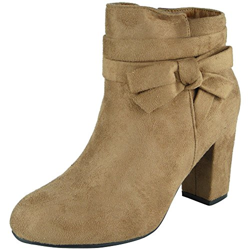 8 Heel Work Bow Zip Ankle Khaki Cuban 3 Faux Boots Size Suede Ladies 1xqSpPP