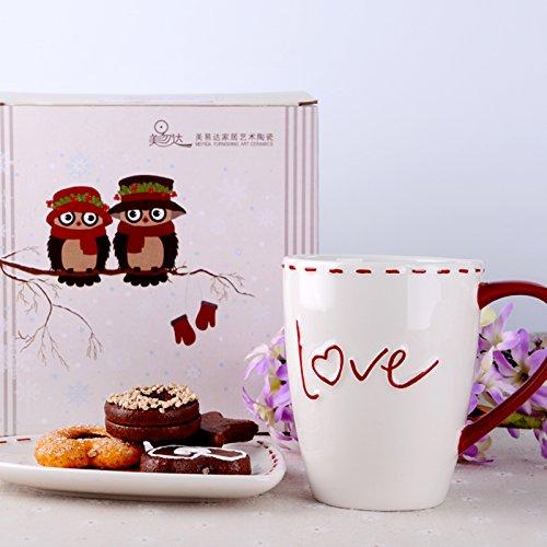 MOCER Einfache Keramische Tassen große große große Kapazität Becher Kaffee Milch Cup Büro Cups kreative Frühstück Tasse mit Deckel, Löffel, Französisch Filter Cup L mit Grüne Abdeckung B07813PXVM Kaffeetassen Großer Verkauf e2f076