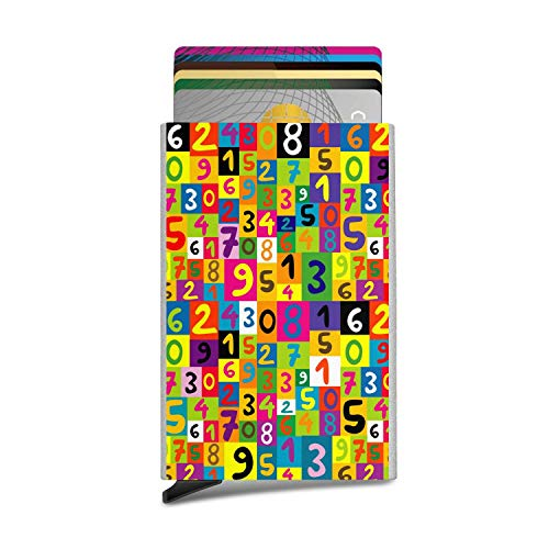 Colorful Math Numbers Seamless Style Anti Magnetic-Aluminum Alloy,Automatic Pop-Up Bank Card Storage Box