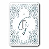3dRose Uta Naumann Personal Monogram Initials - Letter G Personal Luxury Vintage Glitter Monogram-Personalized Initial - Light Switch Covers - single toggle switch (lsp_275306_1)