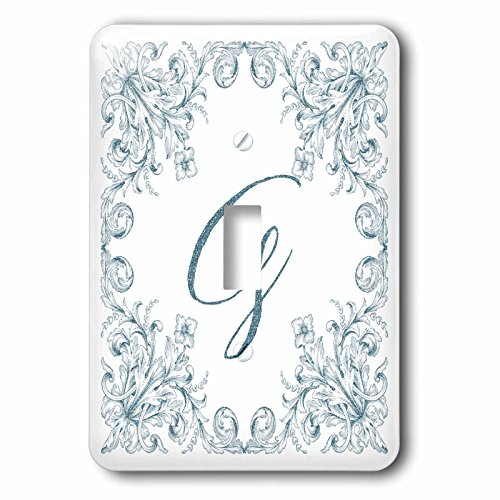 3dRose Uta Naumann Personal Monogram Initials - Letter G Personal Luxury Vintage Glitter Monogram-Personalized Initial - Light Switch Covers - single toggle switch (lsp_275306_1) by 3dRose (Image #1)