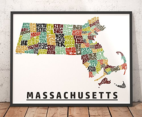 MASSACHUSETTS Map Art Print, Unique Massachusetts Decor, Artist signed typography map art print series, Many sizes available & highly collected