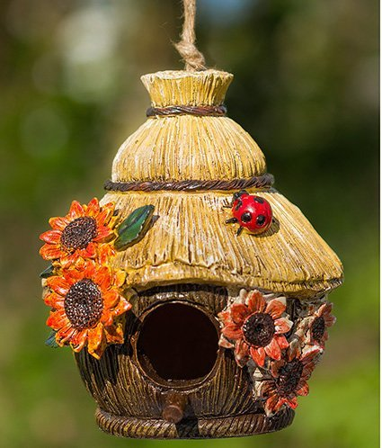 Dawhud Direct Ladybug and Flowers Decorative Hand-Painted Bird House