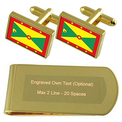Clip Money Gift Flag Engraved Cufflinks Grenada tone Set Gold BwX7xfq