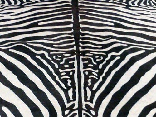 South American Hides New Cowhide Zebra Print Printed Cow Skin Leather Rug, Black/White