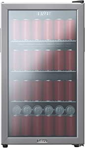 Galanz GLB36MS2F07 Cooler, 130 Cans Beverage Center, Electrical Temperature Control, White LED Lighting, 3.6 Cu.Ft, Stainless Steel