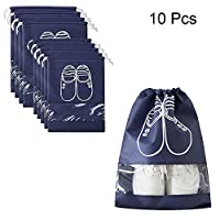 TJW 10 Pcs Shoe Bag, Travel Waterproof Shoe Organizer Bags Stroage Case with Drawstring for Shoes,Boots,High Heel