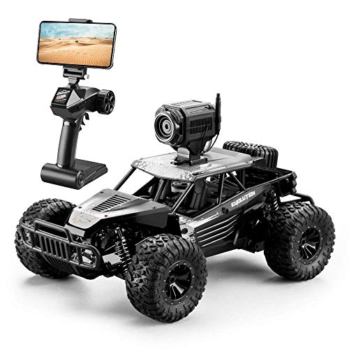 DeXop RC Car, 2.4Ghz 1: 16 4WD Remote Contorl Car with FPV HD Camera & Dual Control Mode, 20km/H High Speed Remote Control Vehicle for Gifts for Children, Adult-Black ()
