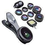 KobraTech 9 in 1 Cell Phone Lens Kit - Super Wide Angle Lens, Kaleidoscope Lens, Macro Lens, Fisheye Lens, Telephoto Lens, CPL & Wide Angle iPhone Lens + Bluetooth Remote Shutter & LED Light
