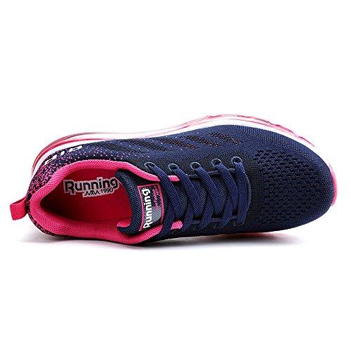 Monrinda Vrouwen Luchtkussen Loopschoenen Ademende Sport Sneakers Blauwe Pruim